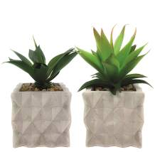 Symmetric Matrix Artificial Plants in Cement Pots, Set of 2 - Realistic Faux Potted Plant for Home, Apartment, or Office - Decorative Fake Plants - for Desk, Bookshelf, or Kitchen