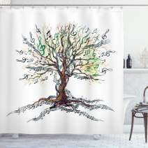 """Ambesonne Music Shower Curtain, Musical Tree Autumnal Clef Trunk Swirl Nature Illustration Leaves Creative Design, Cloth Fabric Bathroom Decor Set with Hooks, 84"""" Long Extra, White Brown"""