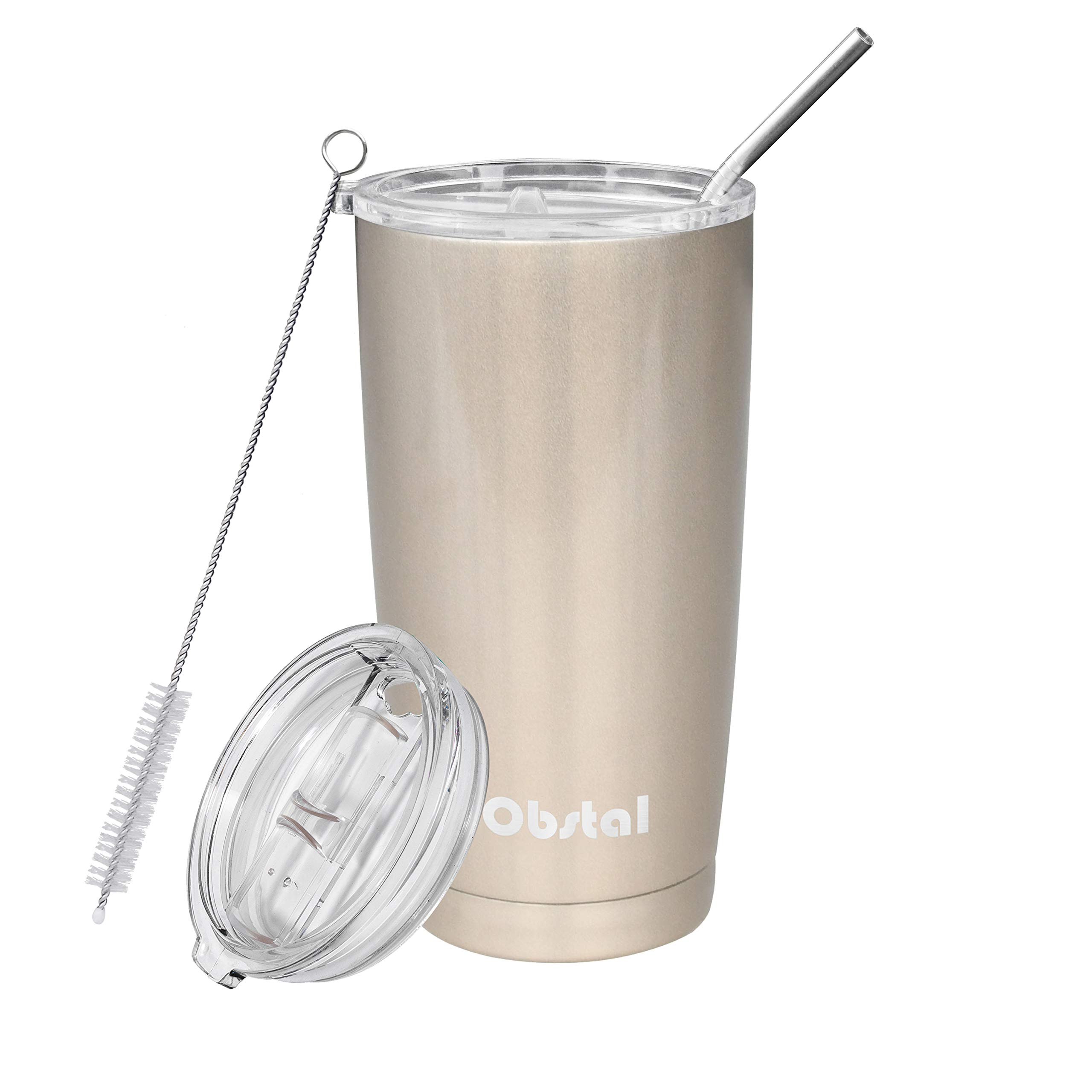 Obstal Insulated Coffee Tumbler Stainless Steel Double Wall Vacuum with Stainless Straw, 2 Clear Lids & Cleaning Brush for Office, Gift (20 oz, Champagne Gold)