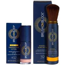 Brush On Block Full Face Sun Protection Kit, Translucent Mineral Powdered Sunscreen & Protective Lip Oil SPF 32, Reef Friendly
