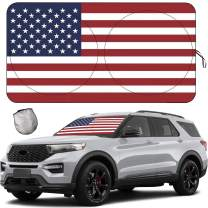 Windshield Sun Shades, Sunshade for Car SUV Truck,Keep The Vehicle Cool,Easy to Use Protect The Vehicle from High Temperature Damage and Uv Reflection - 63x33.5Inches (American Flag)