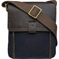 "Hidesign Aiden Genuine Leather and Canvas Mini Crossbody Men/Women Messenger Bag / Travel Bag / 10.5"" iPad Bag, Blue"