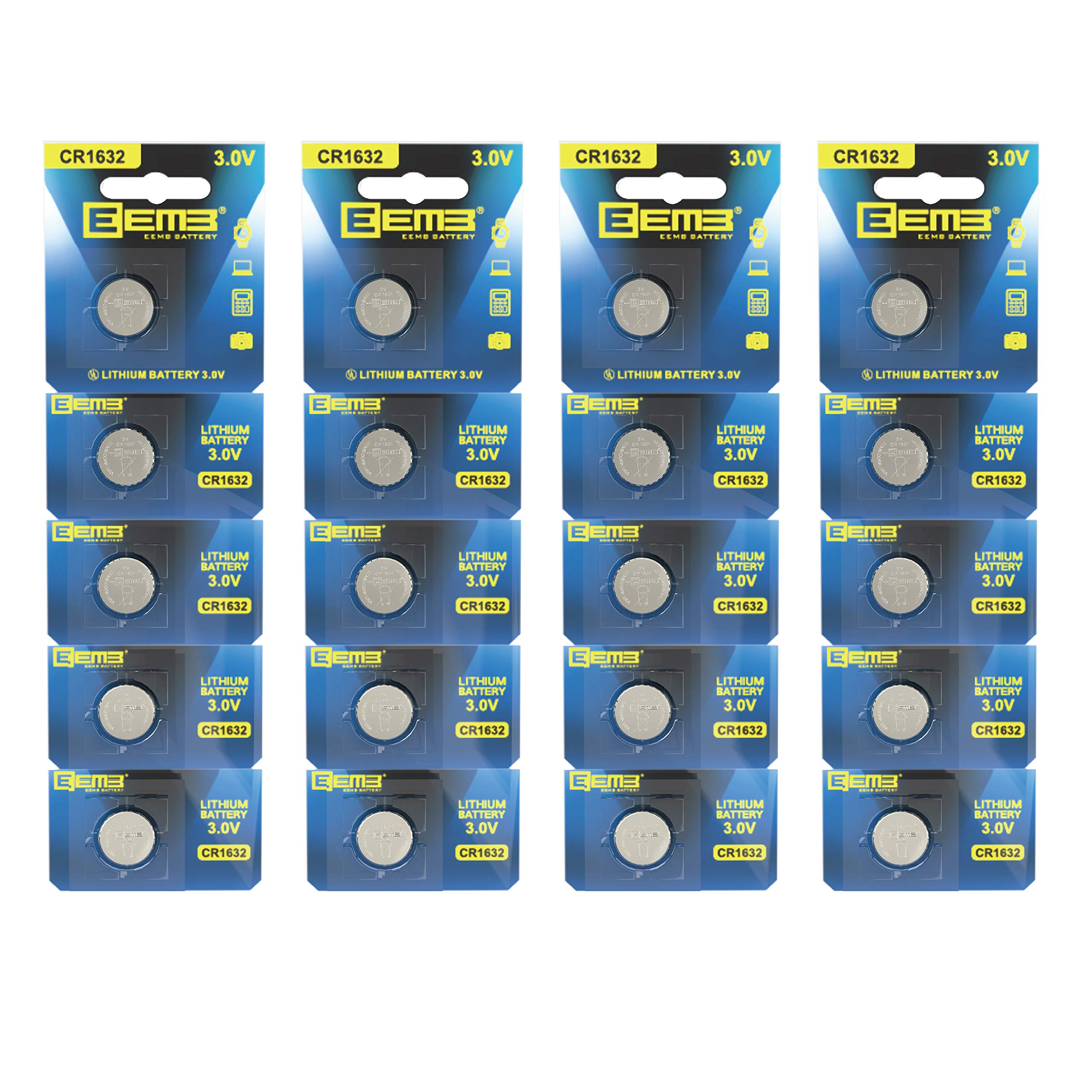 EEMB CR1632 3 V Battery Button Coin Cell Lithium Battery 120 mAh Battery Perfect UL Certified for Watches, Car Remote Key, Alarm Clock Toys (20PCS)