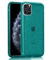 BAISRKE Clear Glitter Case for iPhone 11 Pro Max, Hybrid Heavy Duty Protection Case Hard Plastic & Soft TPU Sturdy Shockproof Armor High Impact Resistant Cover for iPhone 11 Pro Max [Teal Bule]