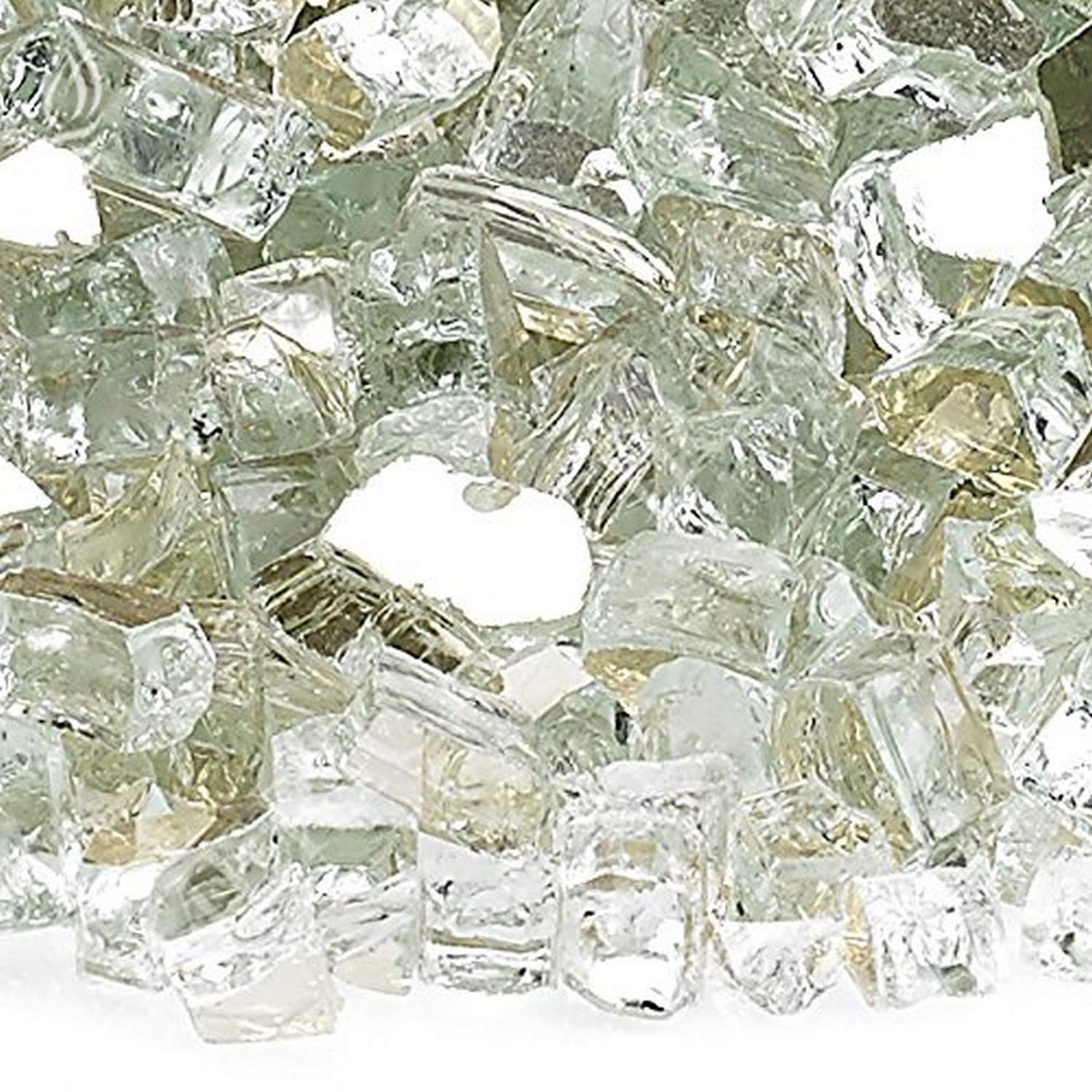 American Fireglass 10-Pound Reflective Fire Glass with Fireplace Glass and Fire Pit Glass, 1/4-Inch, Platinum