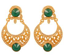 "NEW! Touchstone""Contemporary Kundan Collection"" Indian Bollywood Desire Royal Mughal Classical Style Kundan Look Faux Emerald Jewelry Earrings In Antique Gold Tone For Women"