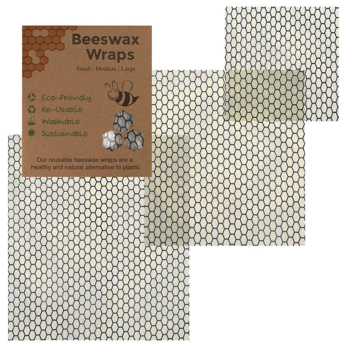 Pack of 3, Reusable Beewax Food Wrap, Zero Waste, Eco Friendly, Reusable Sandwich Wrap, Wax Food Wrap, by Crystal Lemon