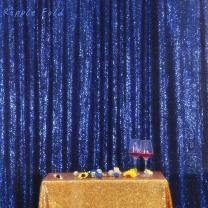 Navy Blue PartyDelight Sequin Backdrop Photography and Photo Booth, Wedding, Curtain, 5FTx6FT