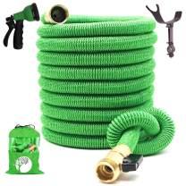 TruTec Expandable Garden Hose, Heavy Duty Nylon Cover, Triple Layer Latex Core, Flexible Expanding Hose, ¾ Brass Shut Off Valve, 8-Way Nozzle, Pat. Stainless Steel Holder (50, Green)