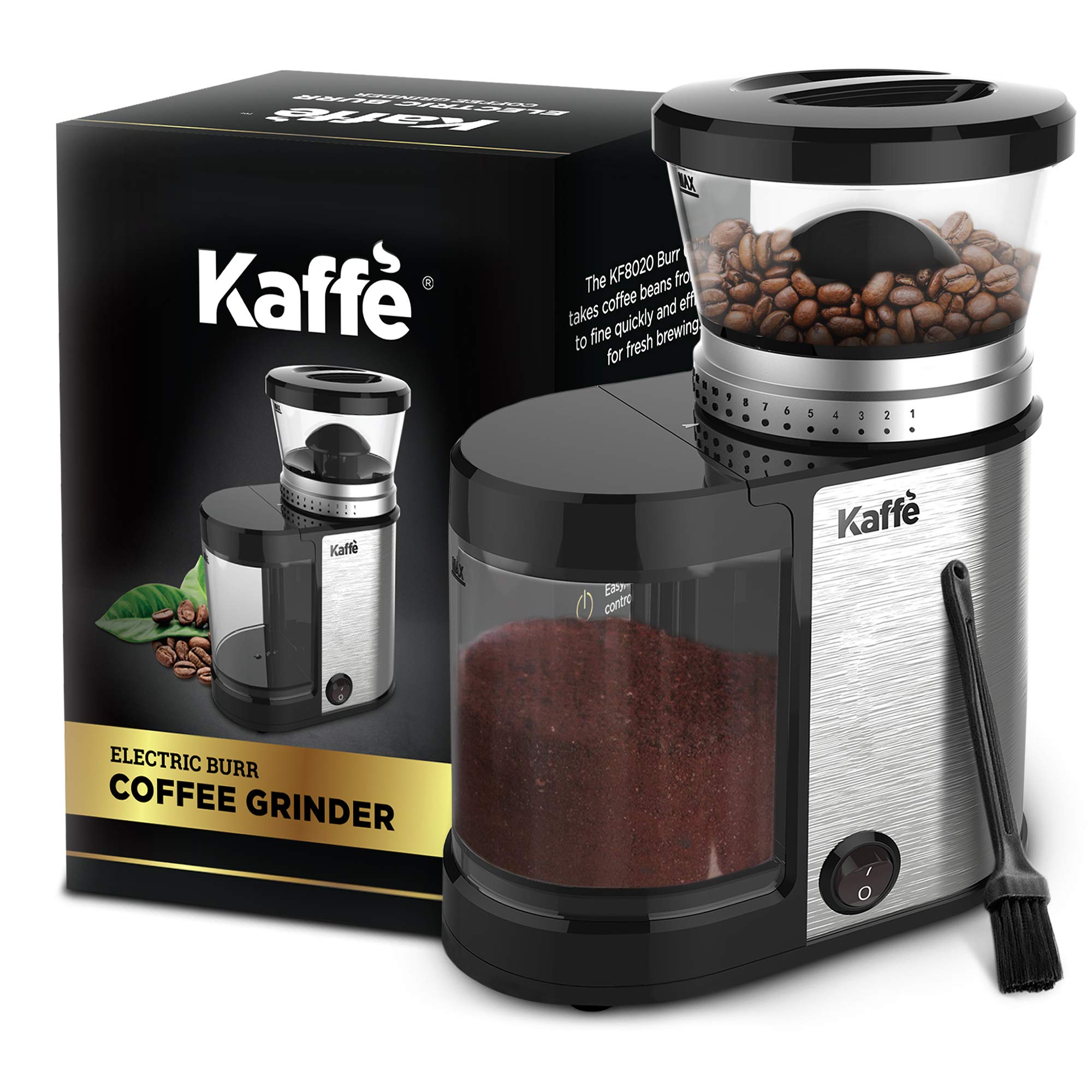 Kaffe KF8020 Electric Burr Coffee Grinder. Stainless Steel - 4oz Capacity with Easy On/Off Button. Cleaning Brush Included!