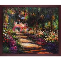 overstockArt MON4254-FR-G200620X24 Pathway in Monet's Garden at Giverny with Open Grain Mahogany Framed Hand Painted Oil Reproduction, 20X24, Multi