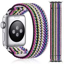 Muranee Compatible with Apple Watch Band 44mm 42mm for Women Girls, Cute Nylon Elastic Bracelet Accessories Stretchy Loop Strap for iWatch SE Series 6 5 4 3 2 1, 42mm/44mm Medium, Colorfulstyle