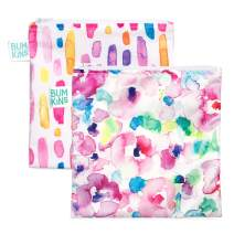 Bumkins Sandwich Bag/Snack Bag Set, Watercolor & Brushstrokes, 7 X 7 Inch (Pack of 2)