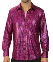 WULFUL Men Dress Shirt Sequins Long Sleeve Button Down Shirt Luxury Disco Party Nightclub Prom Costume