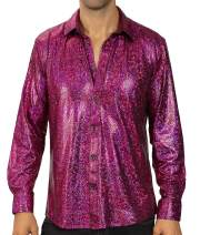 WULFUL Men Dress Shirt Sequins Long Sleeve Button Down Shirt Luxury Disco Party Nightclub Prom Costume