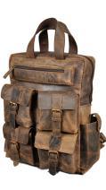 """Devil Hunter 18"""" Leather Backpack for men/women Brown Leather Laptop Backpack"""