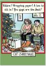 12 Boxed 'Cat Christmas' Holiday Cards with Envelopes 4.63 x 6.75 inch, Cute Feline and Family Cartoon Christmas Cards, Happy Holidays with Kitty and Christmas Presents Cards B1888