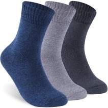 Facool Men's Women's Non-Binding Diabetic Circulatory Full Cushion Quarter Socks, 3 Pairs Navy Blue,Black Grey,Light Grey,US Women 10-13 / US Men 9-12