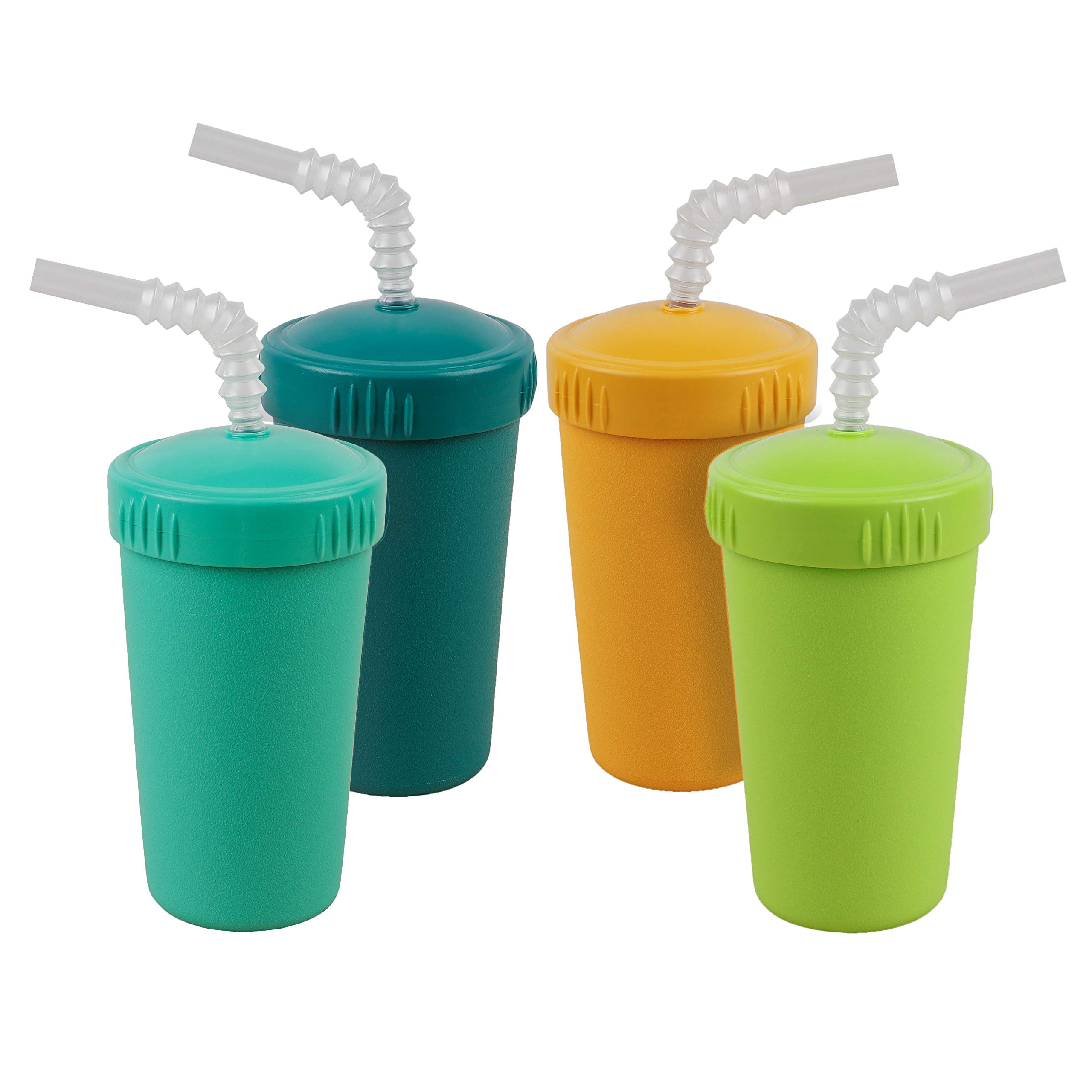 Re-Play Made in USA 4pk Straw Cups with Bendable Straw in Aqua, Sunny Yellow, Lime Green and Teal   Made from Eco Friendly Heavyweight Recycled Milk Jugs - Virtually Indestructible (Aqua Asst+)