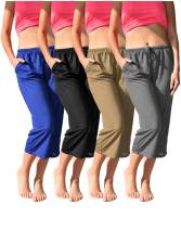 Women's 4 Pack Casual Active Relaxed Flowy Fit Capri Semi Sheer Cropped Bermuda Short Lounge Pants