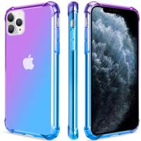 Salawat for iPhone 11 Pro Max Case, Clear Cute Gradient iPhone 11 Pro Max Phone Case Slim Thin Anti Scratch TPU Cover Shockproof Protective Case for iPhone 11 Pro Max 6.5 Inch 2019 (Purple Blue)