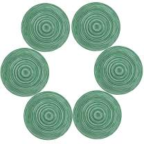 Topotdor Round Placemats Heat-Resistant Stain Resistant Anti-Skid Washable Polyproplene Table Mats Placemats (Colorful Green, Set of 6)