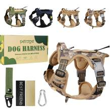 PETAGE Tactical Car Dog Harness No Pull,Reflective Military Dog Harness with Handle, Service Dog Vest Includes Dog Seat Safety Belt Tether, Adjustable Working Pet Vest for Small Medium Large Dogs