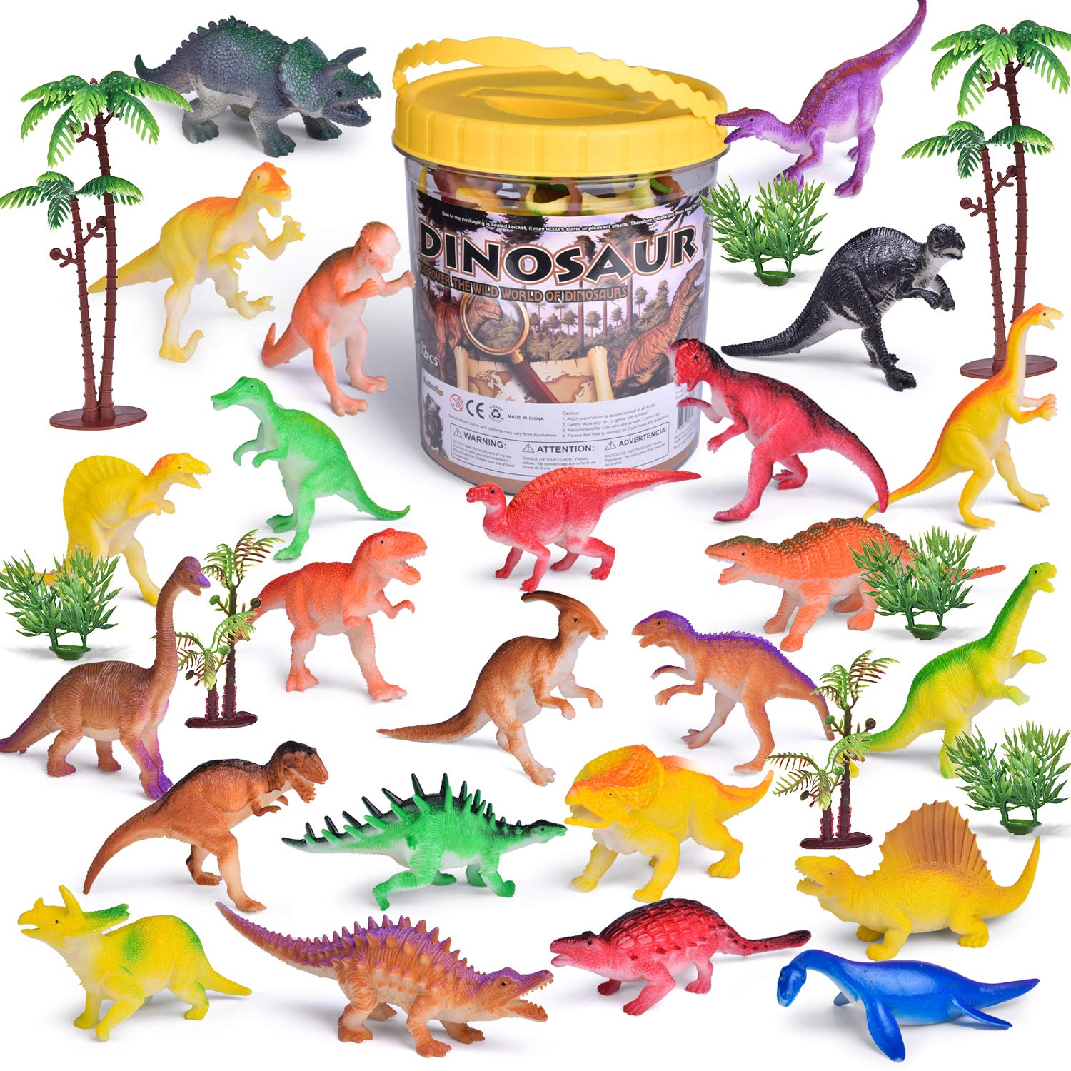 FUN LITTLE TOYS 32PCs Mini Toy Dinosaurs, Best Choices for Goodie Bag Fillers, Kids Prizes, Kids Party Favors