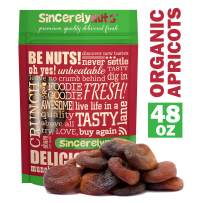 Sincerely Nuts Organic Certified Dried Turkish Apricots - Three LB Bag – All Natural - Unsweetened, Unsulfured & Whole - Rich in Nutrients - Kosher - Guaranteed Pleasure!