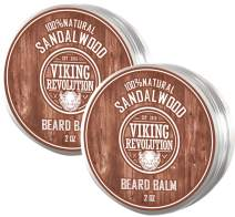 Best Deal Beard Balm with Sandalwood Scent and Argan & Jojoba Oils - Styles, Strengthens & Softens Beards & Mustaches - Leave in Conditioner Wax for Men by Viking Revolution (2 Pack)