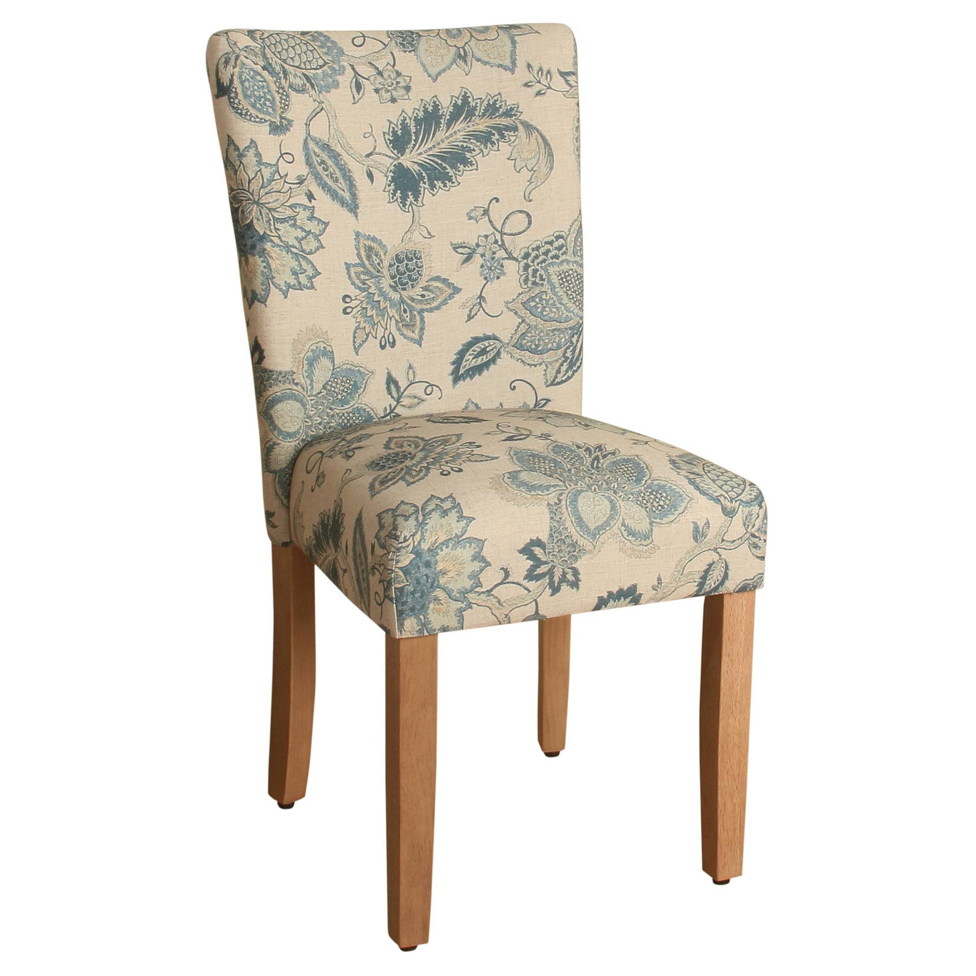 HomePop Parsons Classic Upholstered Accent Dining Chair, Set of 2, Blue Jacobean
