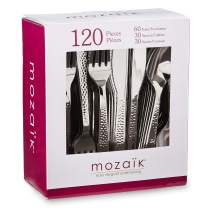 Mozaik Premium Plastic Hammered Stainless Steel Coated Assorted Cutlery, 120 pieces