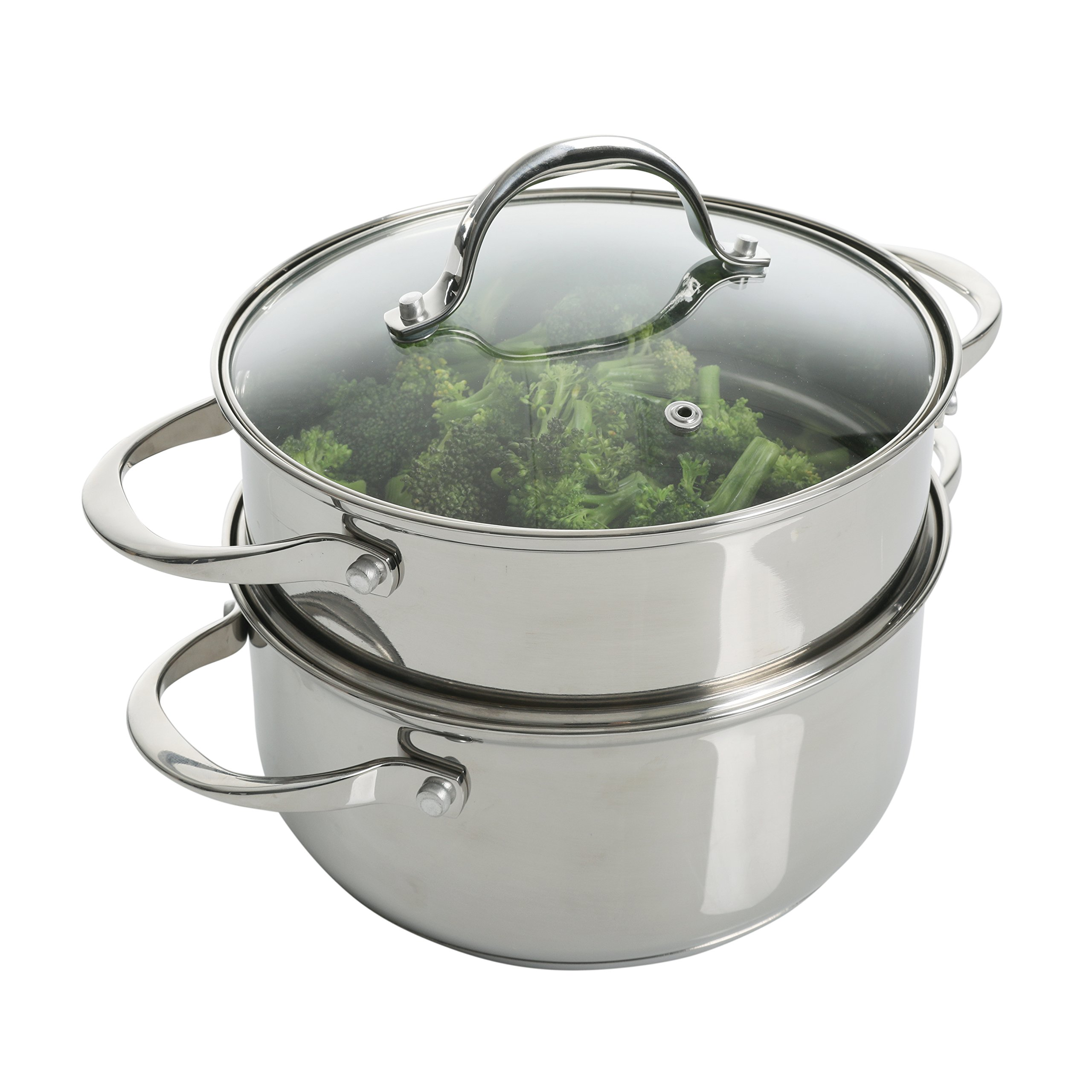 Weight Watchers 118316.03 Brenta Stainless Steel Dutch Oven W/Steamer and Lid, 3Qt, Silver