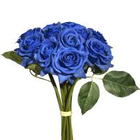 """Mandy's 12pcs Blue Artificial Silk Rose Real-Touch 14"""" Flowers for Home Decoration Bridal Wedding Bouquet and Parties"""