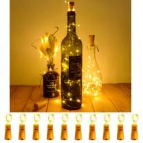 SODELIC 10 Pack Bottle Lights Cork 6.5ft 20 LEDs Waterproof Battery Operated Silver Wire String Lights for Liquor Wine Bottles Crafts Party Halloween Christmas DIY Festival Bar Decoration, Warm White