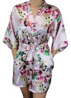 Ms Lovely Women's Floral Satin Bridesmaid Robe Short Kimono W/Pockets for Bridal Party