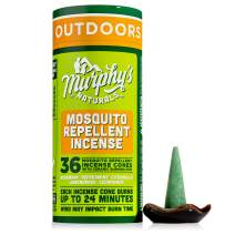 Murphy's Naturals Mosquito Repellent Incense Cones | DEET Free with Plant Based Ingredients | 24 Minute Protection | Ceramic Dish Included | 36 Cones