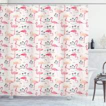 """Ambesonne Flamingo Shower Curtain, Flamingos in Vintage Style Illustration Love and Romantic Animals Artwork Print, Cloth Fabric Bathroom Decor Set with Hooks, 70"""" Long, Beige Pink"""