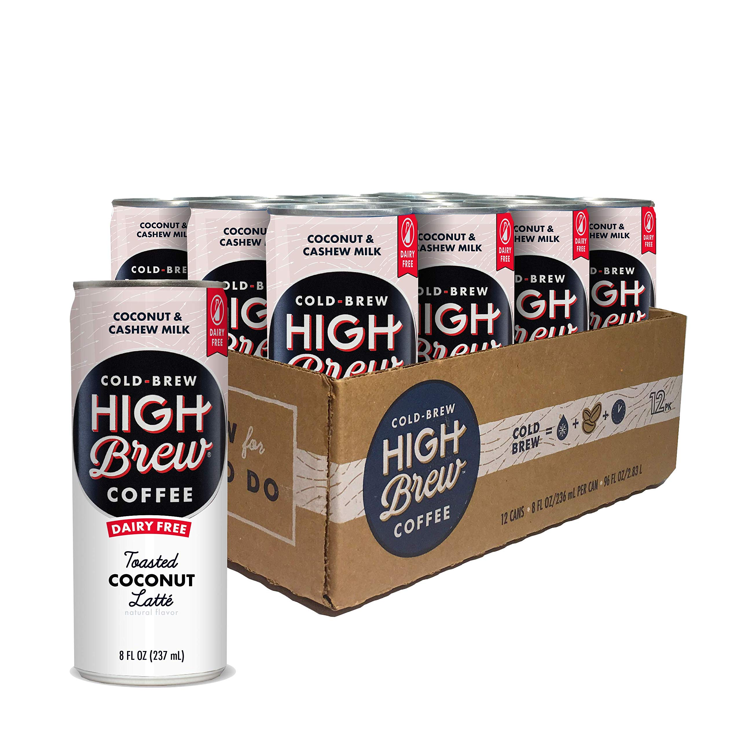 High Brew Coffee High Brew Cold Brew Coffee Toasted Coconut Latte, 8 Oz Can, 12Count