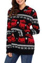 LOSRLY Women Ugly Christmas Sweater Cute Reindeer Hooded Knit Jumper Pullover