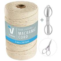 Macrame Cord 3mm x 240 Yards Length, 100% Natural Twisted Cotton Cord Perfect for Decorative Projects, Wall Hanging, Crafts, Plant Hangers, Macrame Supplies Bundle with Folding Scissors