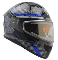 Vega Helmets Unisex-Adult Modular Caldera Electric Snow Snowmobile Helmet with 30% Larger Shield and Sunshield (Blue Blade Graphic, X-Small)