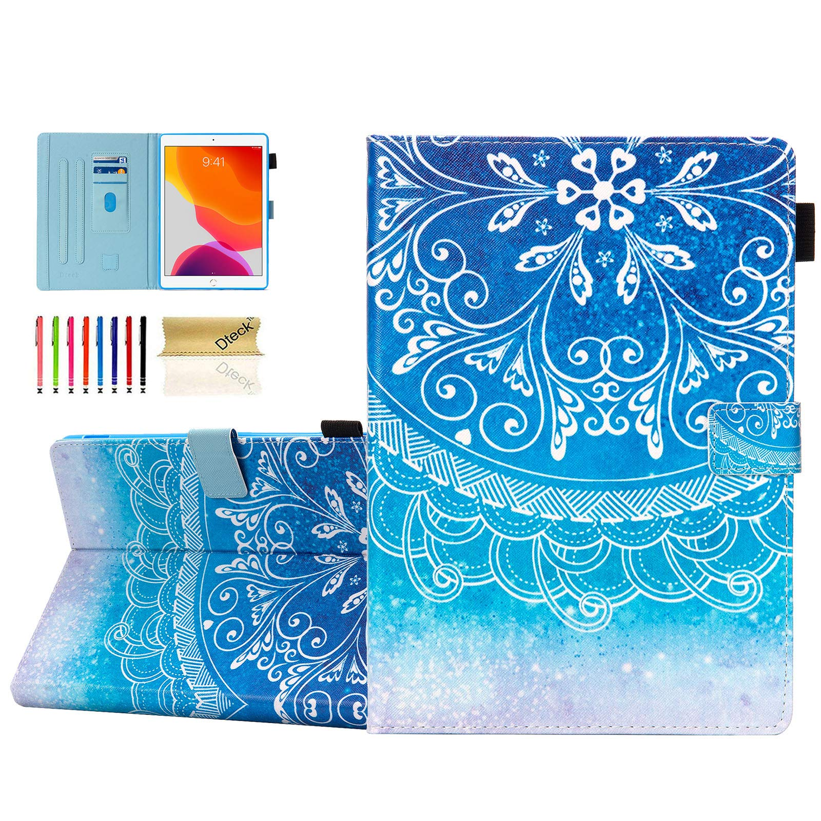 Dteck Case for iPad 10.2 2019 7th Generation - Slim Fit Premium PU Leather Folio Stand Smart Soft Protective Cover with Pencil Holder, Auto Wake/Sleep and Wallet Pocket, Blue Mandala