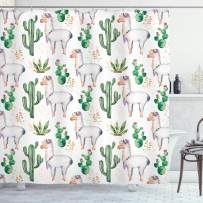 """Ambesonne Cactus Shower Curtain, Hot South Desert Plant Cactus Pattern with Camel Animal Modern Colored Image Print, Cloth Fabric Bathroom Decor Set with Hooks, 75"""" Long, White Green"""