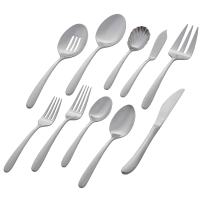 Amazon Brand – Stone & Beam Traditional Stainless Steel Flatware Silverware Set, Service for 8, 45-Piece, Silver with Satin Matte