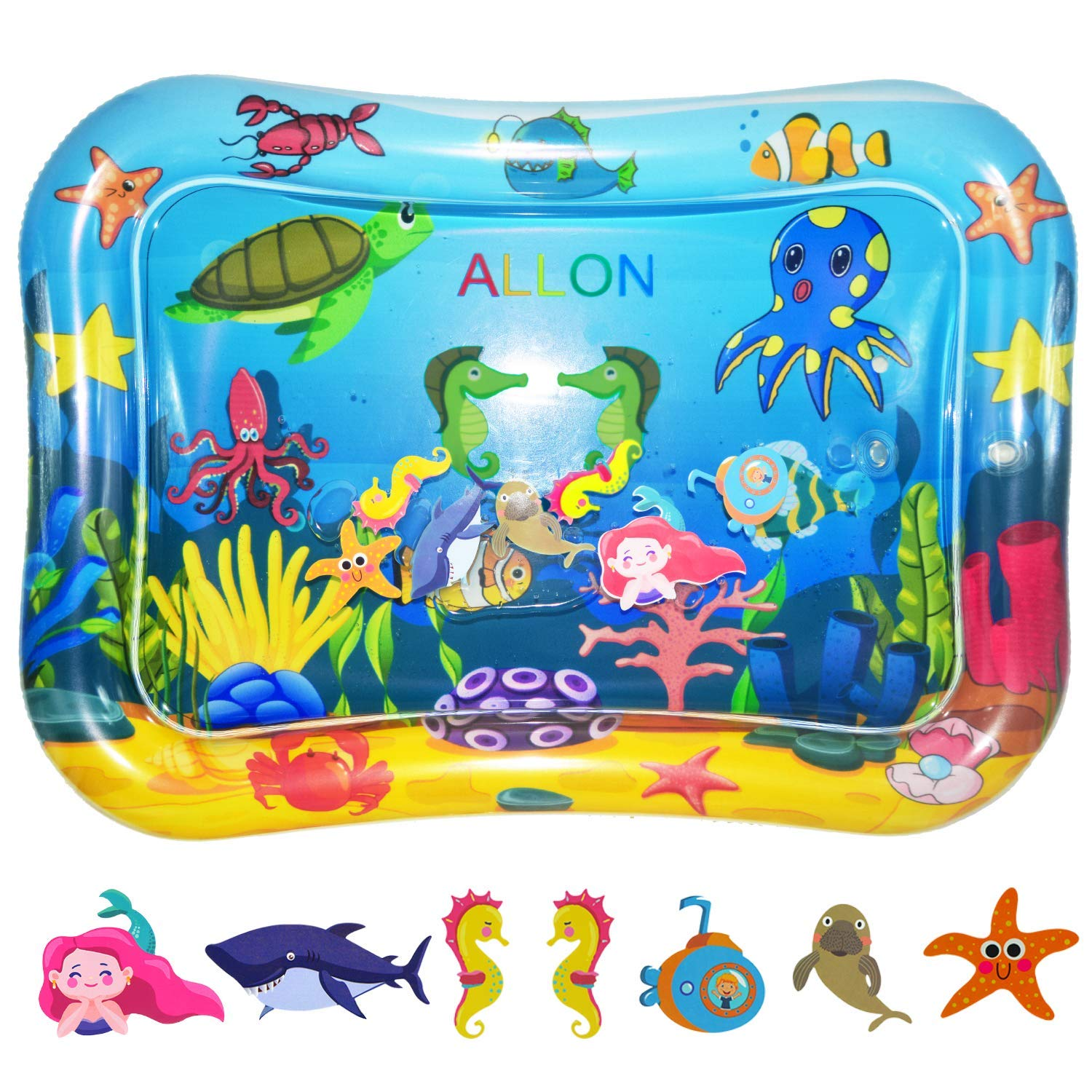 ALLON Tummy Time Baby Water Play Mat, Leakproof Inflatable Play Mats for Infants & Toddlers, Best Activity Centers Baby Sensory Toys for 3 6 9 Months