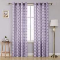 Deconovo Decorative Grommet Semi Sheer Curtains Decorative Jacquard Curtain Drapes for Living Room 52 x 95 Inch Light Purple 2 Panels