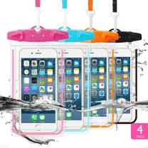 """GLBSUNION Universal Waterproof Case, IPX8 Cell Phone Dry Bag/Pouch Compatible for iPhone 11 Pro Xs Max XR X 8 7 Galaxy S10 LG up to 6.9"""", Protective Pouch for Pool Beach Kayaking Travel Bath (4-Pack)"""