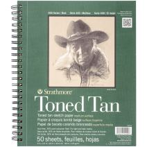 """Strathmore 412-9 400 Series Toned Tan Sketch Pad, 9""""x12"""" Wire Bound, 50 Sheets"""