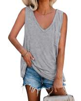 Esobo Womens Tank Tops Loose Fit Summer V Neck Tunics Tees Sleeveless Solid Color Shirts with Pocket
